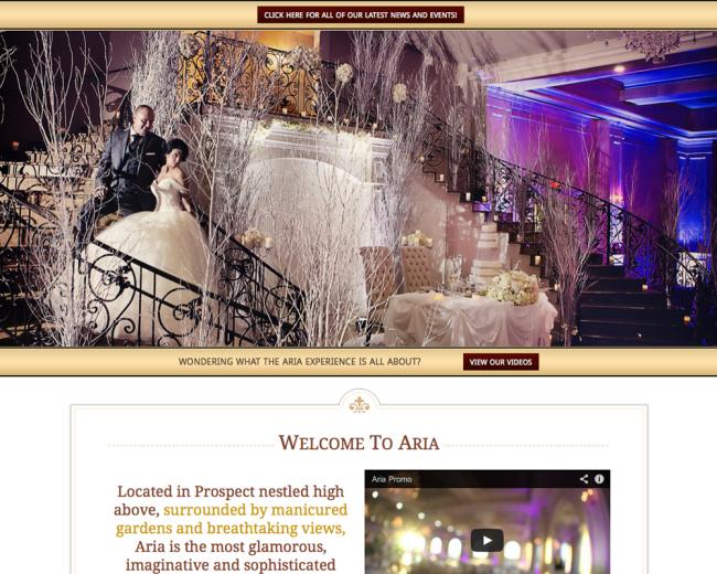 Aria Banquets Web Design