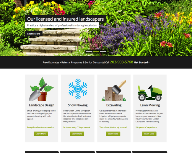 Better Green Lawns Web Design