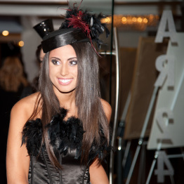 Woman Dressed Up in Costume for Big Event