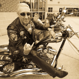 Photo of Dee Snider Celebrity Rocking Out on His Motorcycle for the Bikers for Babies Charity Event