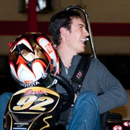 Joey Logano Racing Go Carts at Grand Opening