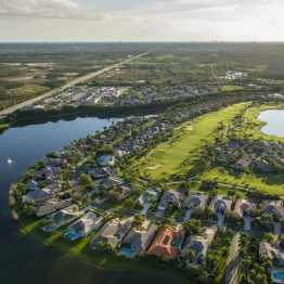 Aerial View of Luxury Home on Golf Course | Real Etstae Photography FL